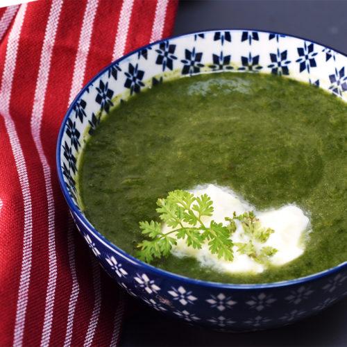 Крем-суп из шпината с кервелем