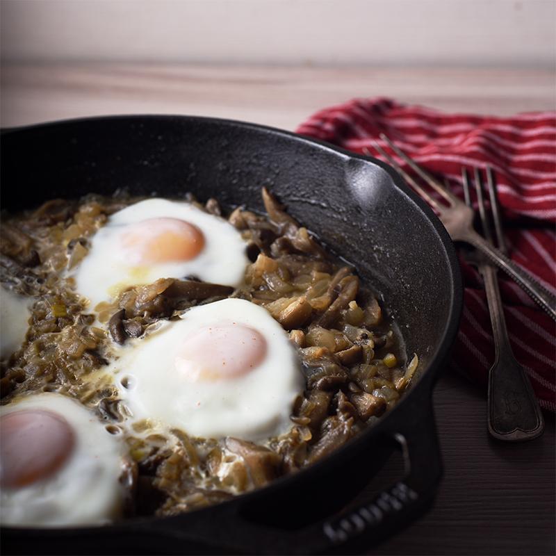 Яйца с вешенками Яичные филеи