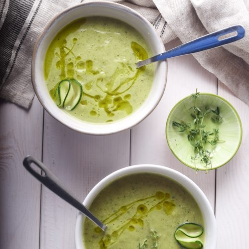 Суп с цуккини и кедровыми орехами на костном бульоне